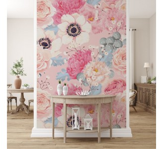 Anemones and Roses Removable Wallpaper