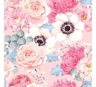 Anemones and Roses Removable Wallpaper pattern