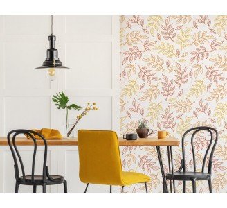Doodle Autumn Leaves Removable Wallpaper full view