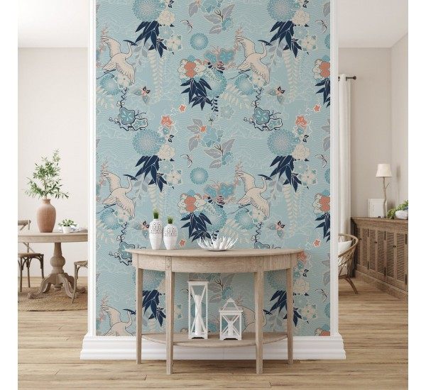 Crane and Flowers Removable Wallpaper