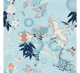 Crane and Flowers Removable Wallpaper pattern