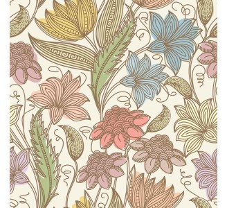Abstract Summer Flowers Removable Wallpaper pattern