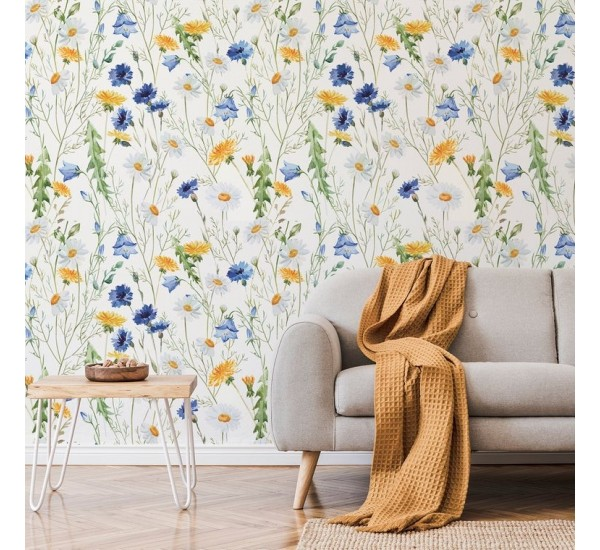 Country Wildflowers Wallpaper Removable Wallpaper