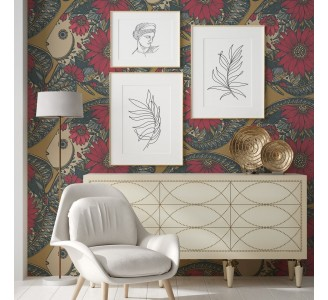 Red Floral Fish Removable Wallpaper
