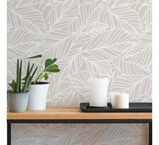 Light Pastel Leaves Removable Wallpaper