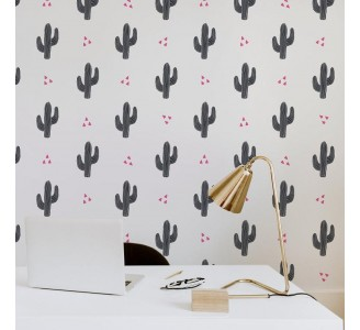 Cactus in Black Removable Wallpaper