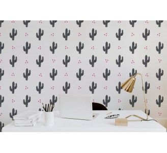 Cactus in Black Removable Wallpaper full view