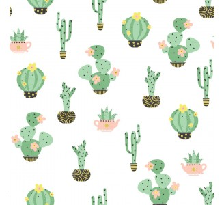 Cute Cacti Removable Wallpaper pattern