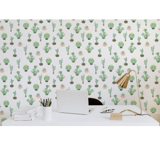 Cute Cacti Removable Wallpaper full view