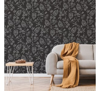 Monochrome Flowers Removable Wallpaper