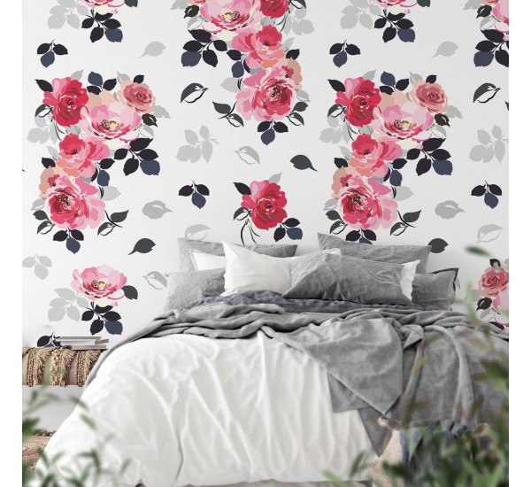 Watercolor Bouquet of Roses Removable Wallpaper