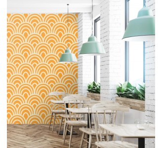 Yellow Seigaiha Removable Wallpaper