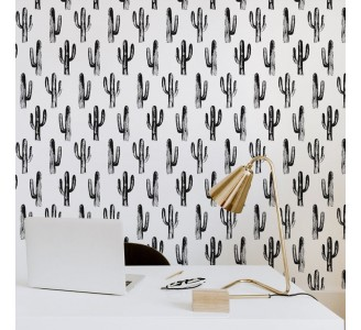 Monochrome Cacti Removable Wallpaper