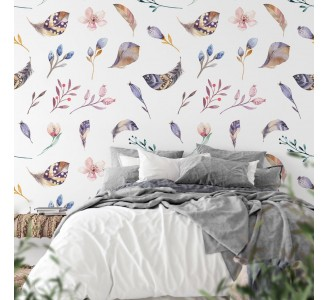 Feathers and Wildflowers Removable Wallpaper