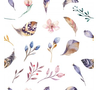 Feathers and Wildflowers Removable Wallpaper pattern