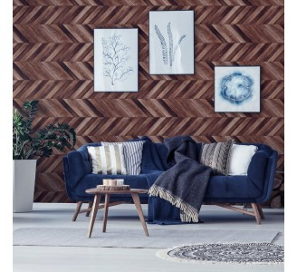 Dark Wood Parquet Removable Wallpaper