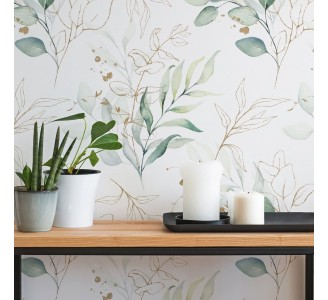 Green and Golden Leaves Removable Wallpaper