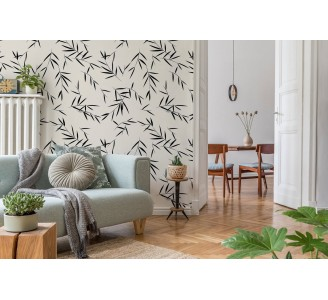 Bamboo Branches Removable Wallpaper full view