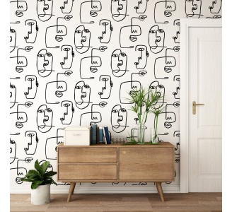 Abstract Face Removable Wallpaper
