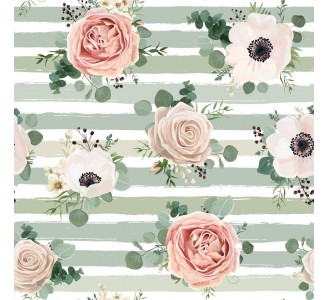 Anemone and Pink Rose Removable Wallpaper pattern
