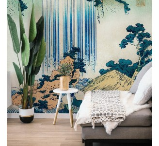 Watercolor Waterfall Landscape Removable Wallpaper