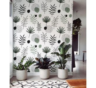 Scandinavian Pastel Leaves Removable Wallpaper