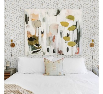 Golden Abstract Lines Removable Wallpaper