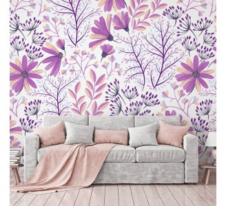 Soft Purple Flowers Removable Wallpaper
