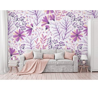 Soft Purple Flowers Removable Wallpaper full view