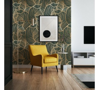 Golden Leaves on Green Removable Wallpaper
