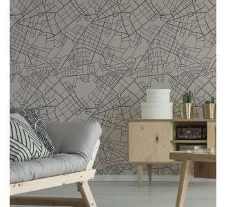 Beige Street Map Removable Wallpaper