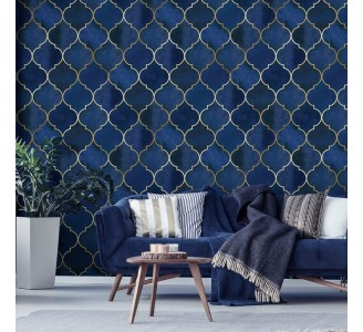 Blue Moroccan Pattern Removable Wallpaper
