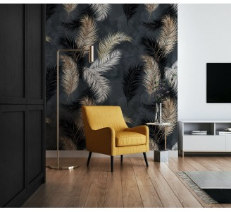 Gold and White Feathers Removable Wallpaper