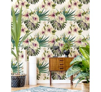 White Hibiscus Removable Wallpaper