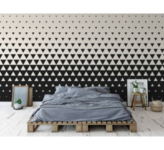 Black and White Triangles Removable Wallpaper full view