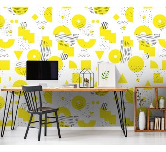 Yellow Abstract Removable Wallpaper full view