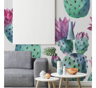 Watercolor Pink Cactus Removable Wallpaper