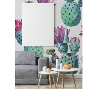 Watercolor Pink Cactus Removable Wallpaper full view