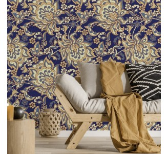 Ethnic Flowers on Blue Removable Wallpaper