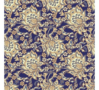 Ethnic Flowers on Blue Removable Wallpaper pattern