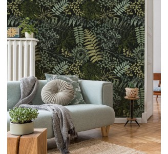 Green Grunge Ferns Removable Wallpaper