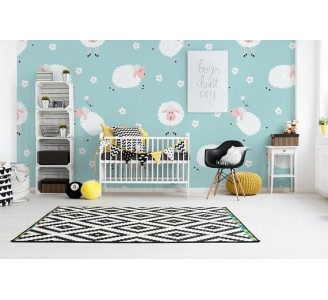 Lovely Sheeps Removable Wallpaper nursery