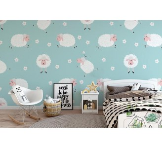 Lovely Sheeps Removable Wallpaper child room