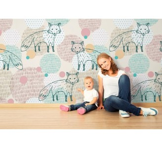 Foxes Removable Wallpaper nursery