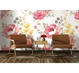 Vintage Pink Flowers Removable Wallpaper