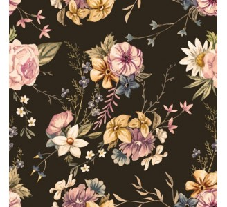 Vintage Dark Floral Removable Wallpaper Wall2stick
