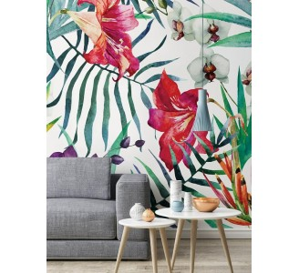 Tropical Flowers Removable Wallpaper living room