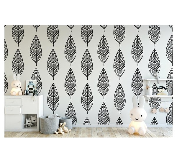 Black and White Leaves Removable Wallpaper