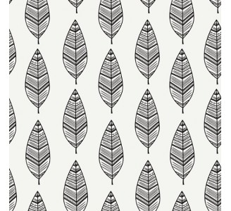 Black and White Leaves Removable Wallpaper pattern