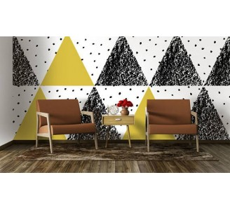 Retro Triangles Removable Wallpaper living room